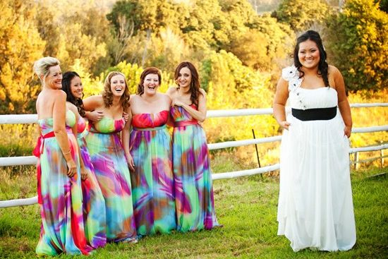 Rainbow Bridesmaid Dresses I Love These