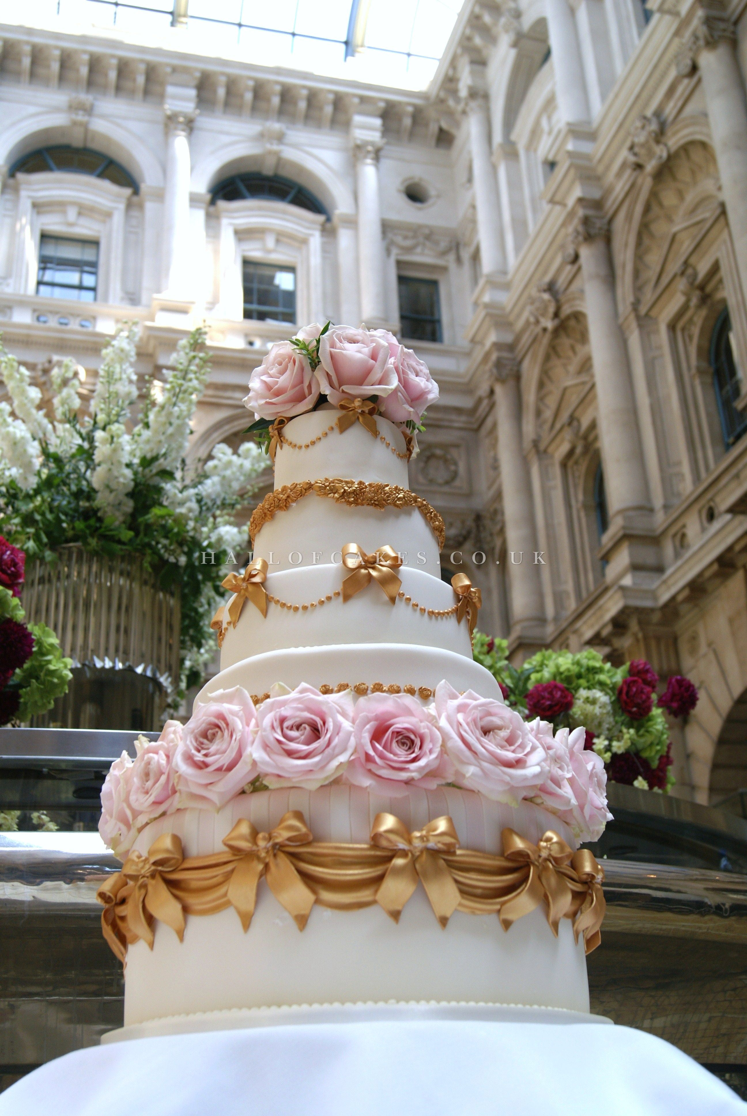 Amazing Gold Swags & Pink Roses Wedding Cake Pink rose