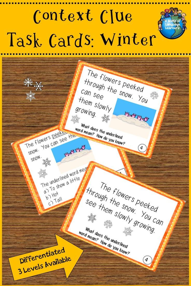 Fall themed context clue task cards. Each card has a focus vocabulary word and simple sentence. Great practice for ELL learners. #taskcards #contextclues #winter #winterishere  #esl #esol #language  #languagelearning  #LanguageArts #vocabulary #vocabularywords