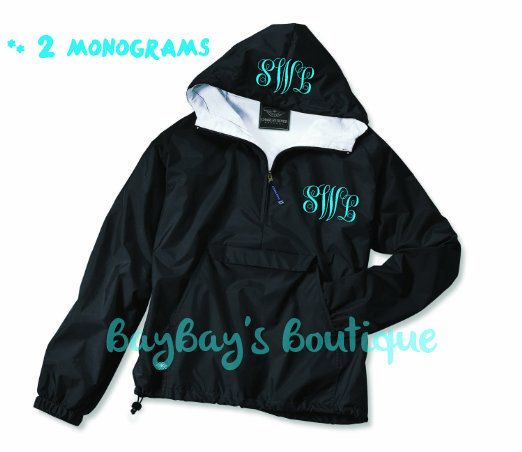 Monogrammed Rain Jacket Pullover INCLUDES 2 by BayBaysBoutique, $51.00