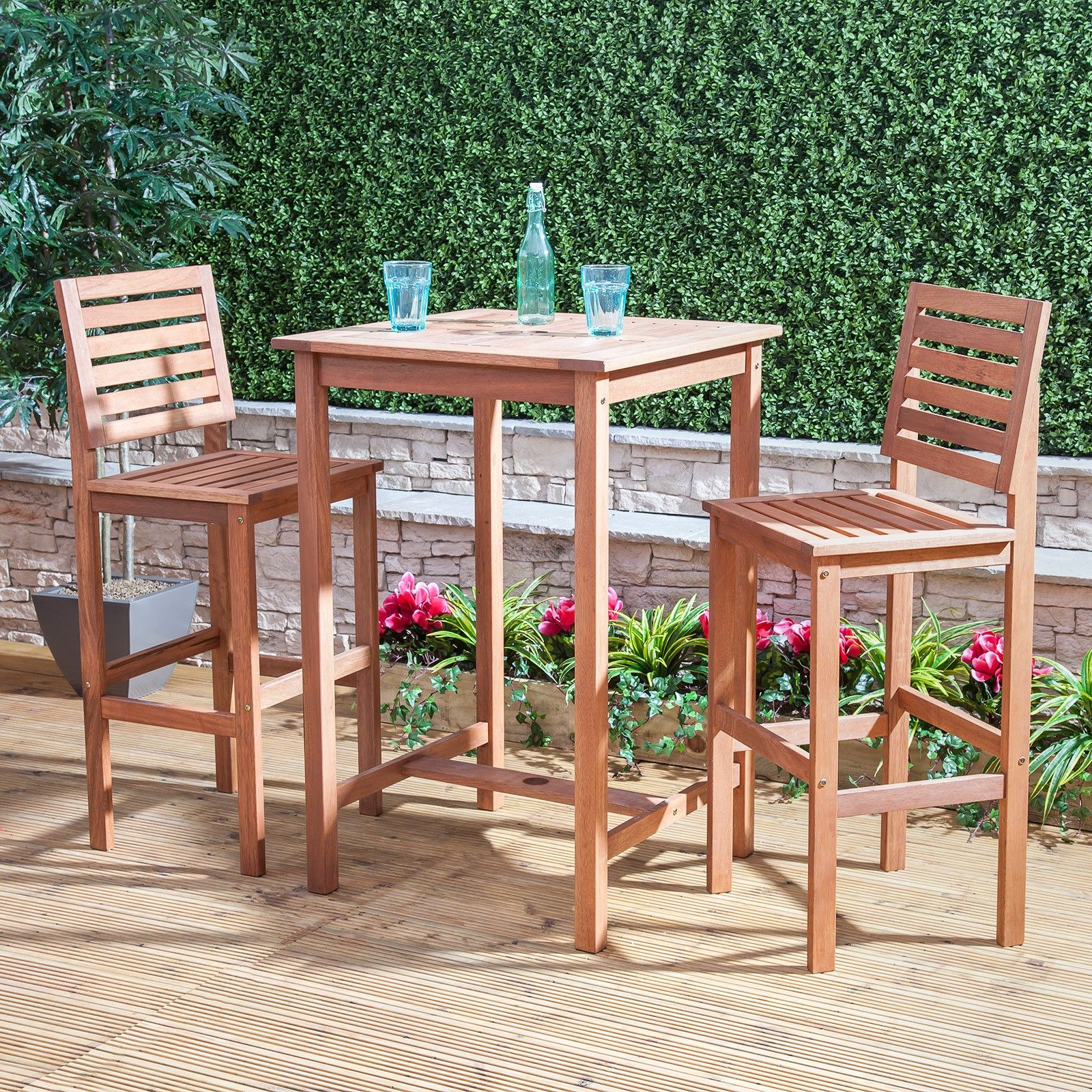 Bon Wooden Bar Table And Chairs   Bistro Sets   Garden Furniture