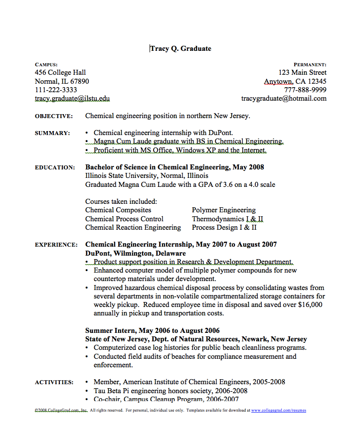 in post this time we will give a example about sample of chemical engineer resume that will give you ideas and provide a reference for your own resume