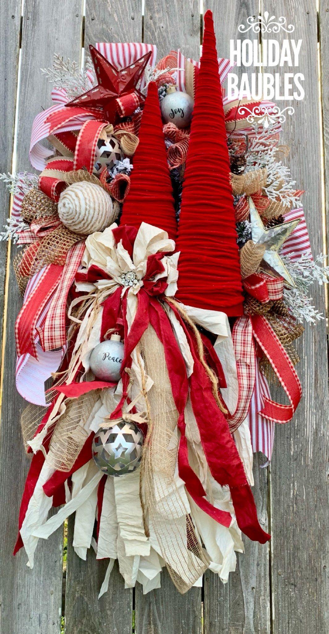 Christmas Wreath, Christmas Tree Wreath, Farmhouse
