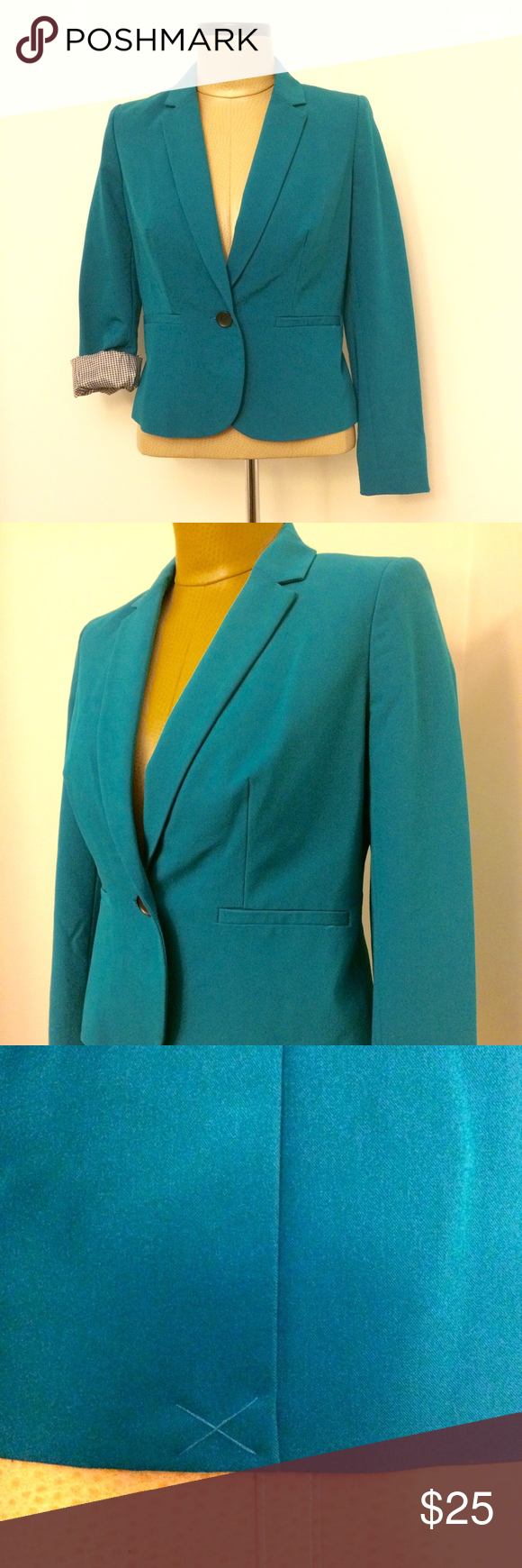 Worthington Blazer Worthington teal blazer. I wore this once for an interview. Looks good with sleeves down, or roll them up to show a modern black and white pattern. Size petite medium Worthington Jackets & Coats Blazers
