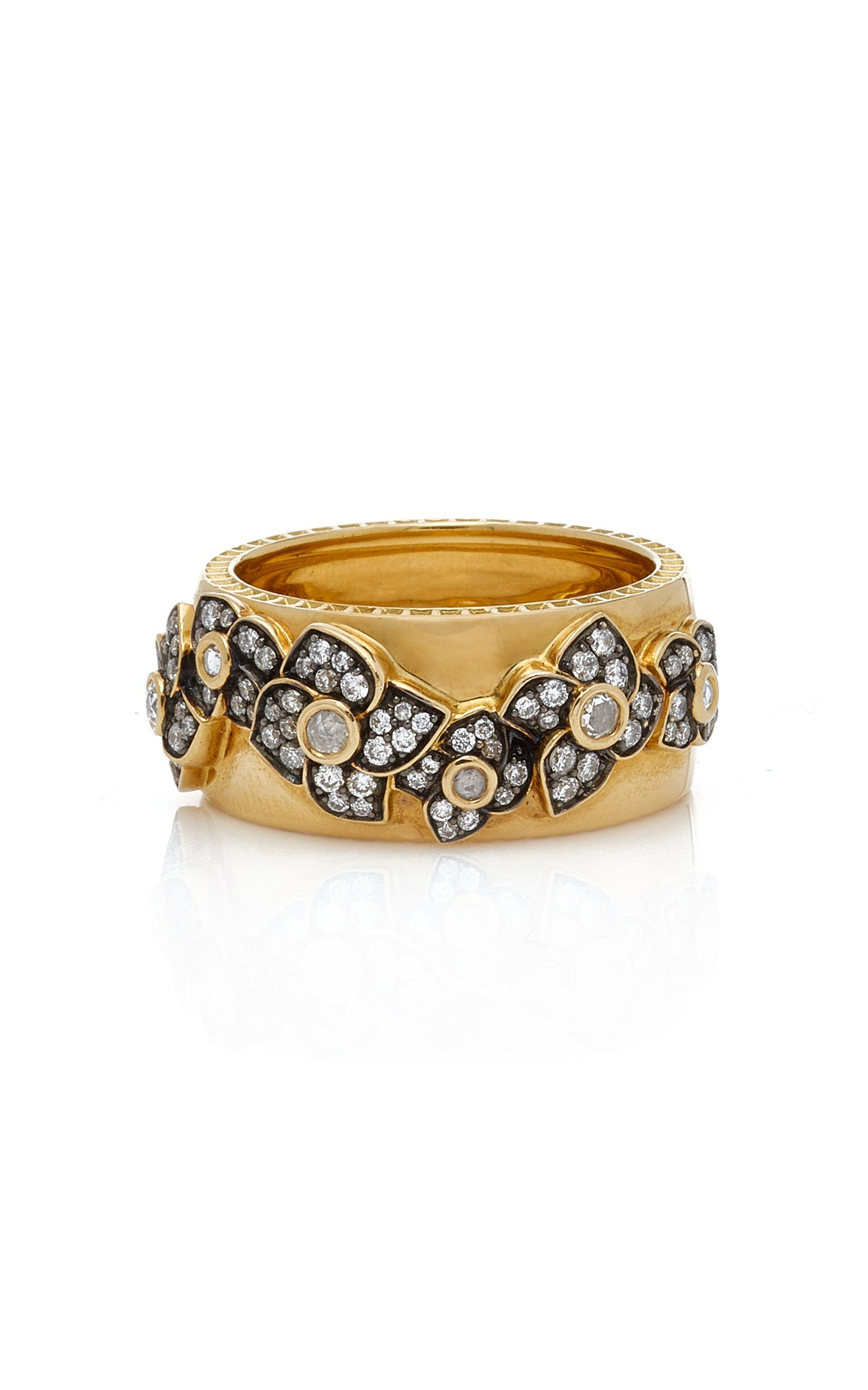 18k Yellow Gold Diamond Flower Ring By Sorellina For Preorder On