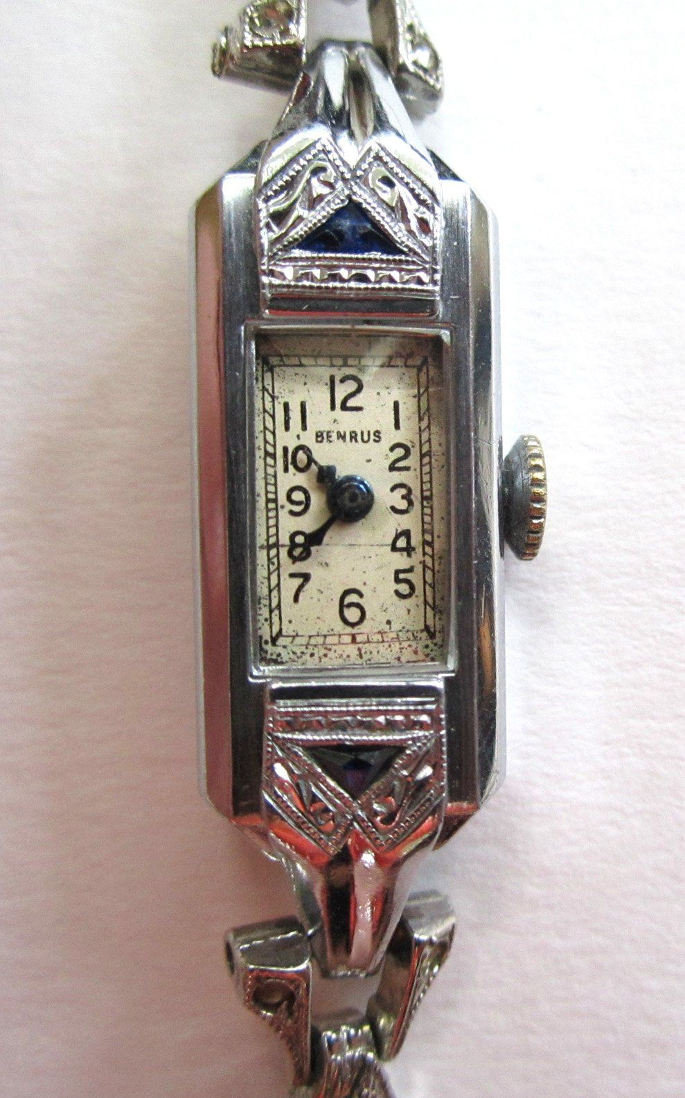 Art Deco Ladies Benrus Sapphire Watch With French Sterling Silver Rhinestone Band #vintagewatches
