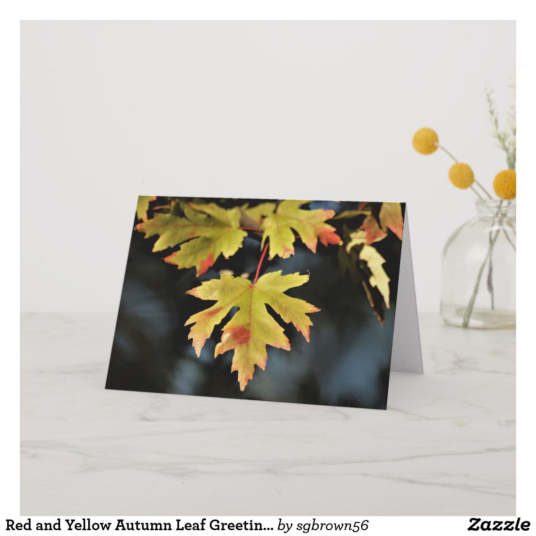 Red And Yellow Autumn Leaf Greeting Card