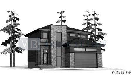 Plan d\u0027architecture maison à étages neuve - cottage contemporain V