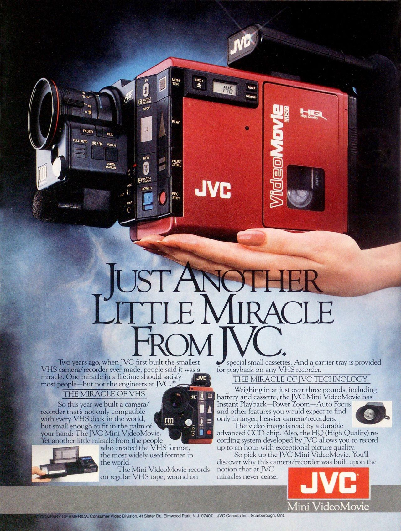 Jvc Mini Videomovie Camcorder Print Advertisement  1986
