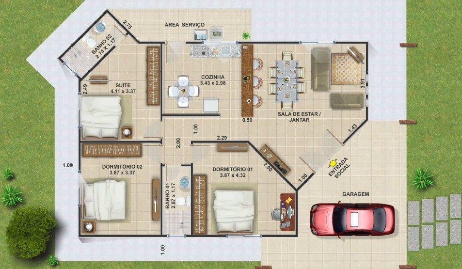 Plano de casa moderna con medidas planos de planta for Planos para casas modernas
