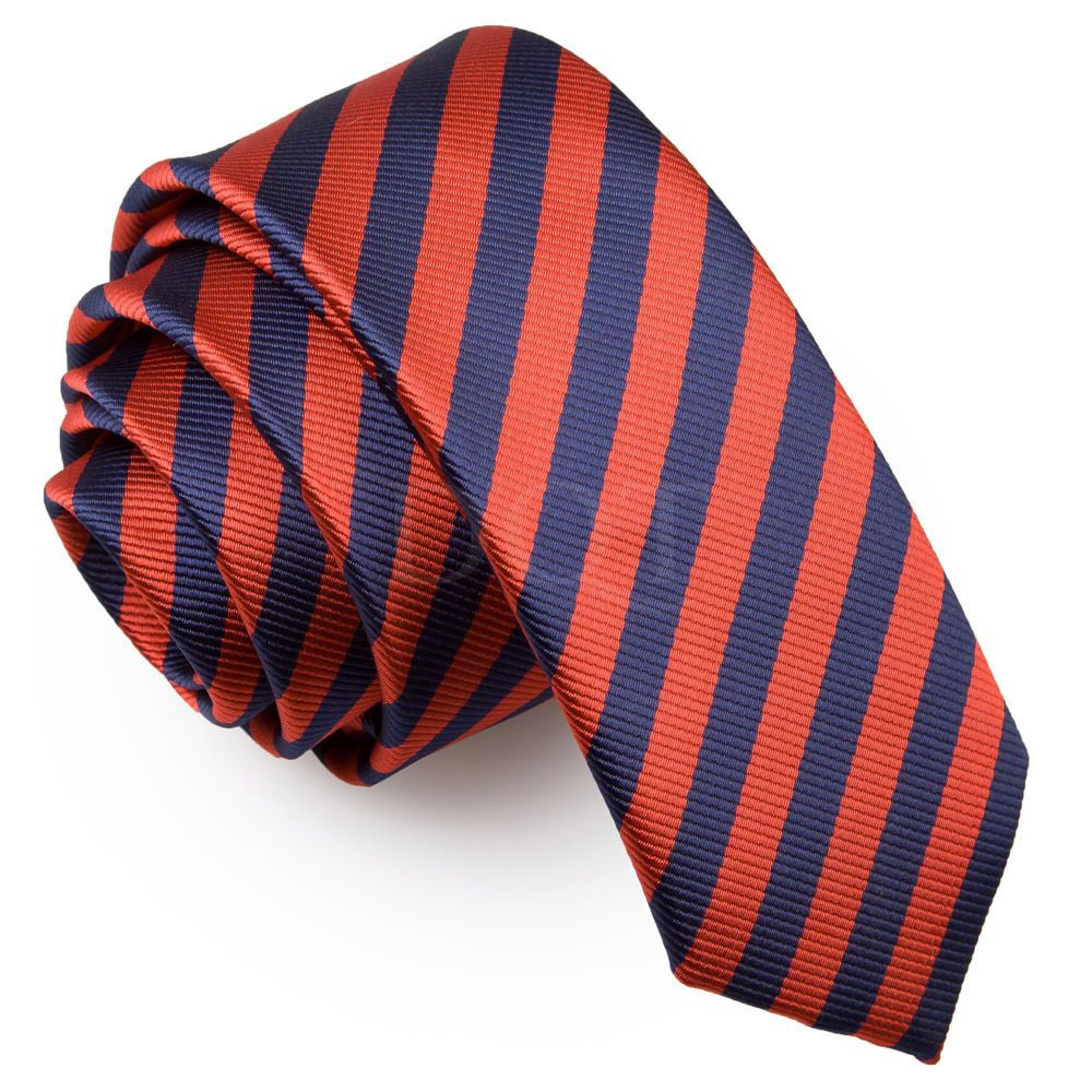 6c93d147ce87 Dqt Woven Thin Stripe Navy Blue Red Formal Casual Mens Skinny Tie ...