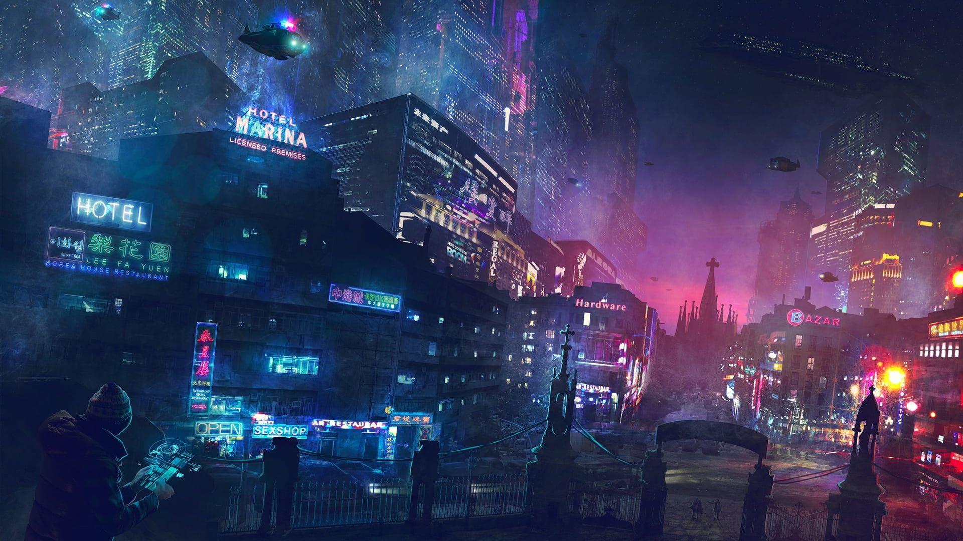 Building Digital Wallpaper Digital Art Science Fiction City Cyberpunk 1080p Wallpaper Hdwallpaper Desktop In 2020 Cyberpunk City Cyberpunk Art Futuristic City
