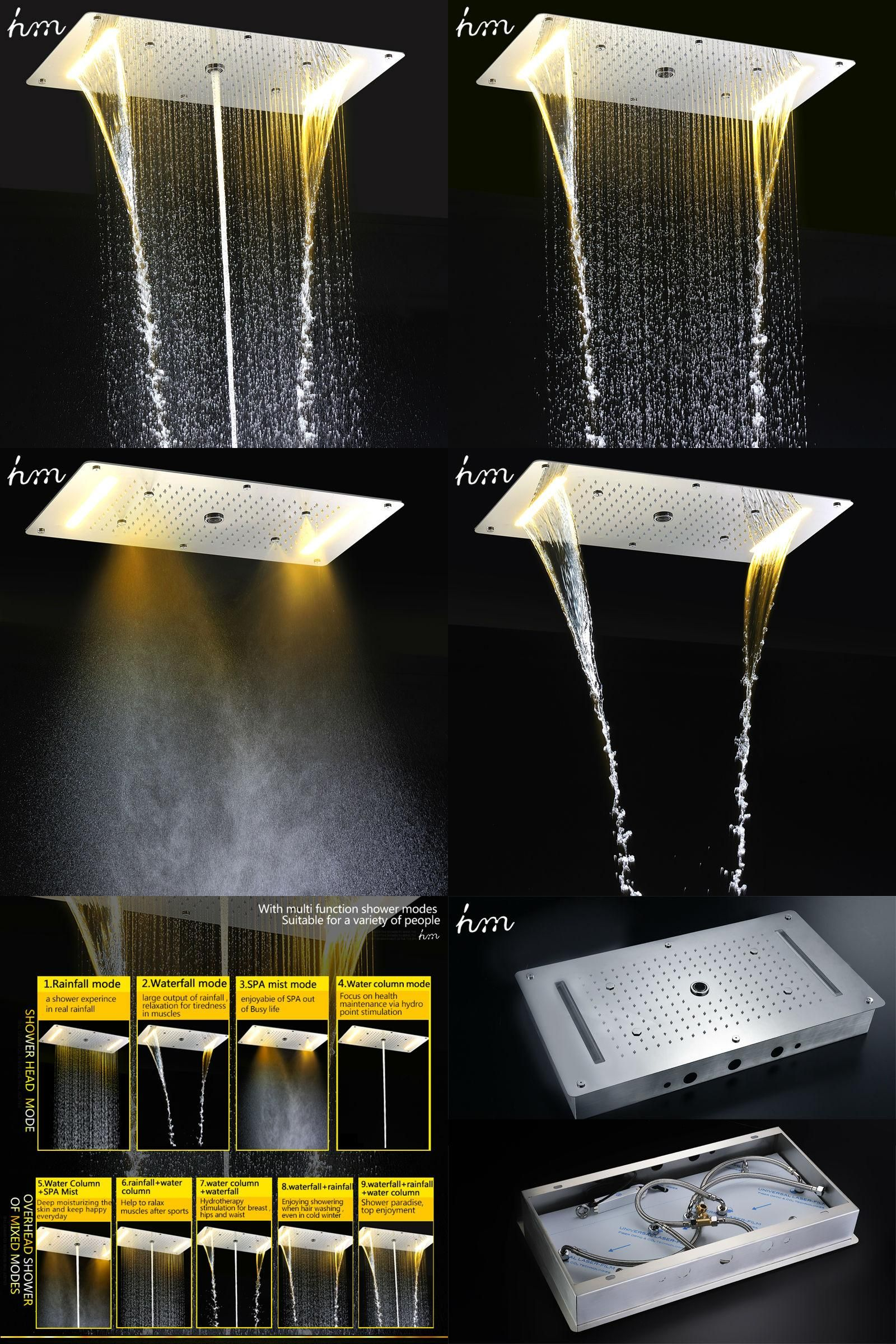 Visit to Buy] hm 9 Function Led Shower Head Light Rain Shower ...