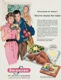 Classic fifties-60s styled magazine Ad for Swanson Tv Dinners.