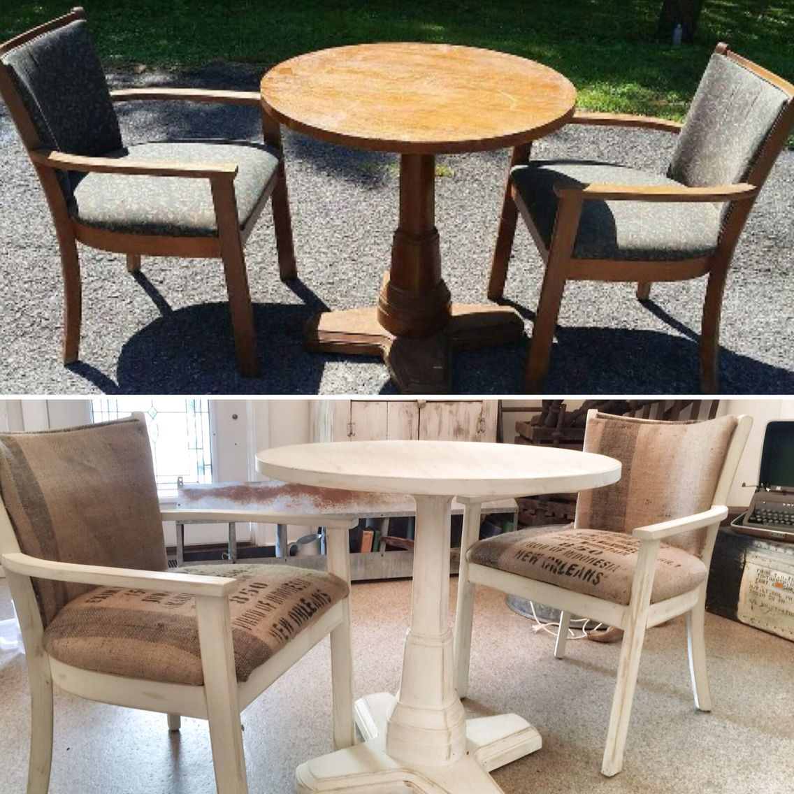 Before and after farmhouse table and chairs
