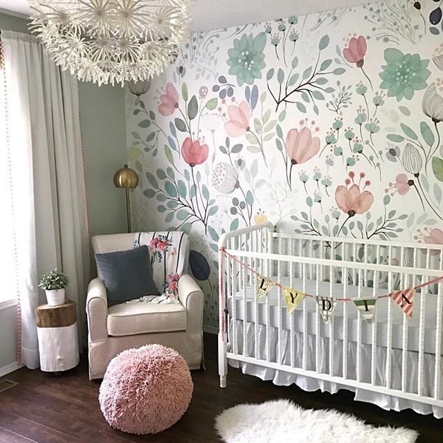Floral Wallpaper Accent Wall in the Nursery - so whimsical and sweet! | Baby Girl Nursery Ideas ...