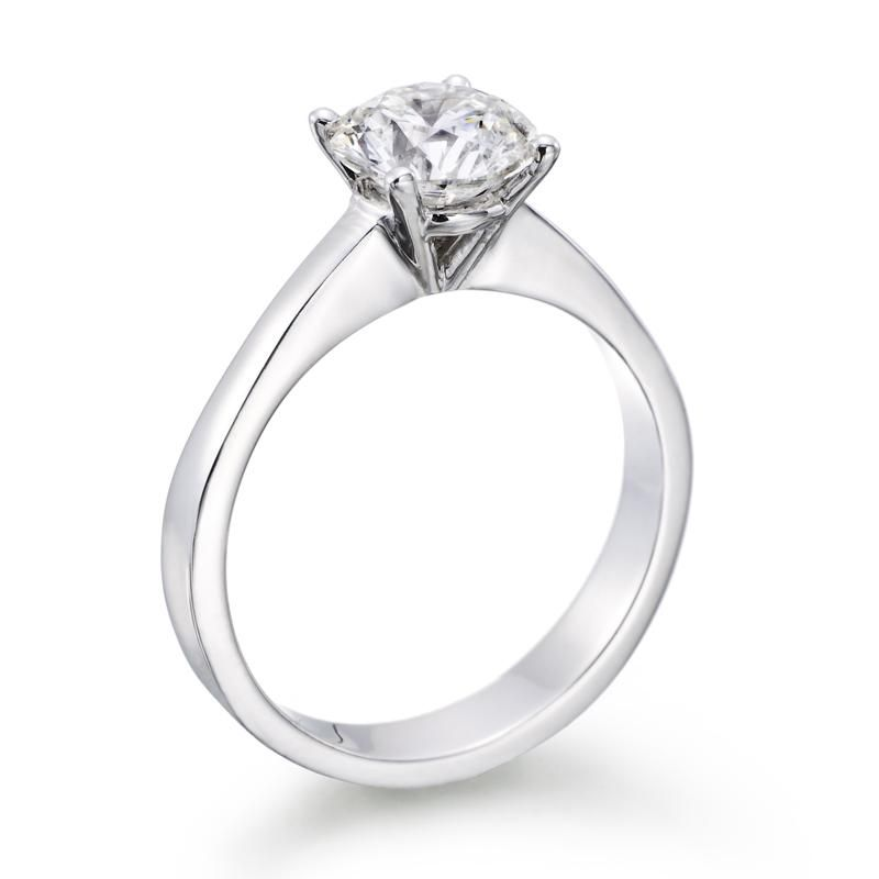0 55 Carat Round Diamond Solitaire Engagement Ring in 14k white