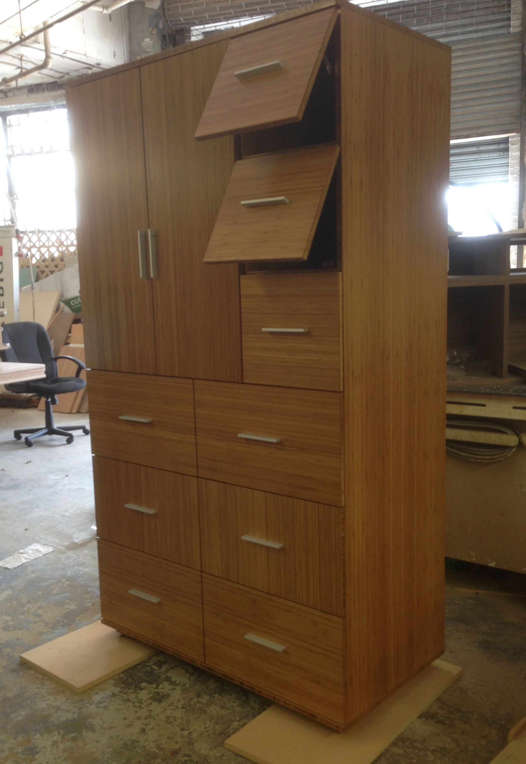 Merveilleux Custom Armoire With 9 Drawers Made Of Bamboo Ply With Alternating Grain  Direction On The Fronts