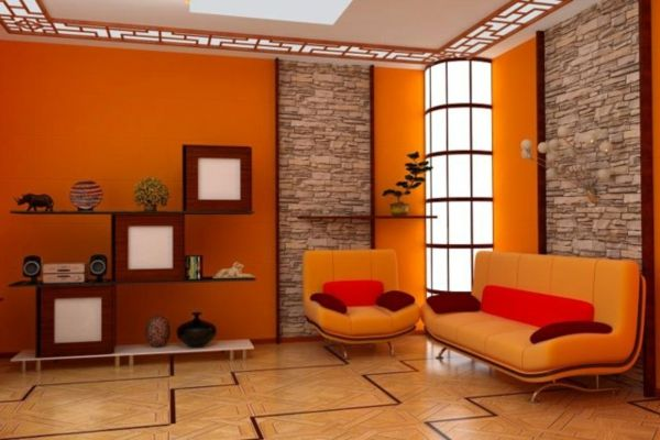Beautiful Decoracion De Sala En Color Naranja