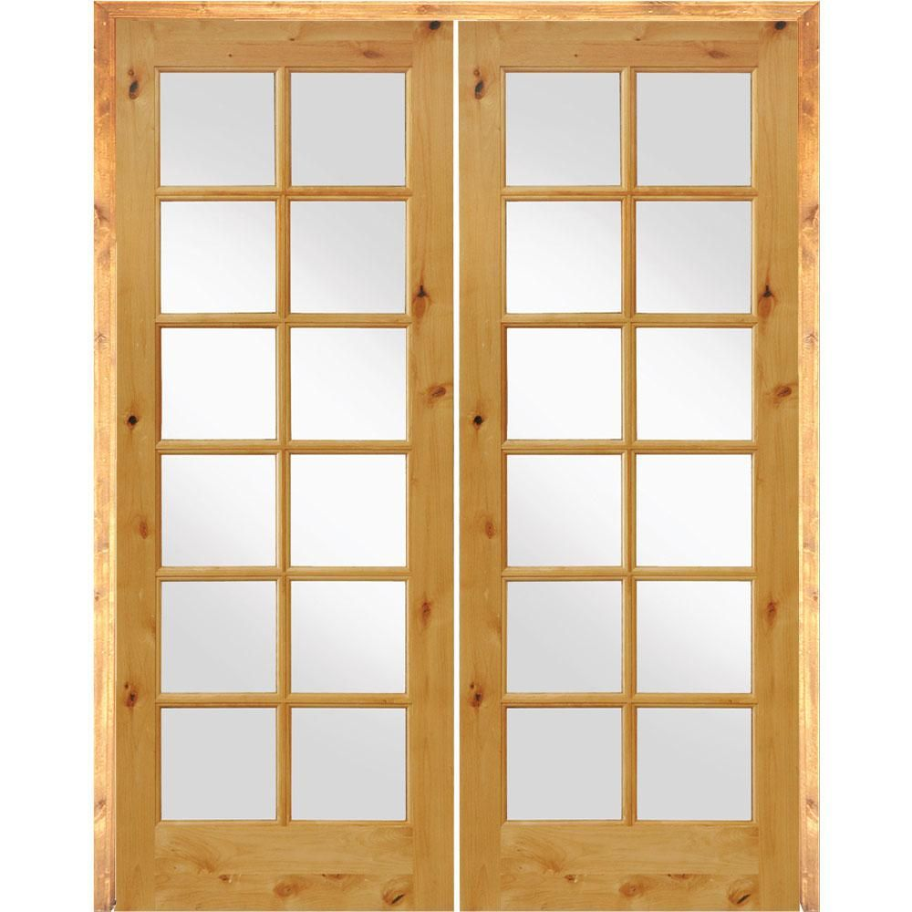 Krosswood Doors 60 In X 96 In Rustic Knotty Alder 12 Lite Low E Glass Both Active Mdf Solid Core Wood Double Prehung Interior Door Phid Ka 412 50 80 134 Aa Prehung Interior Doors French Doors