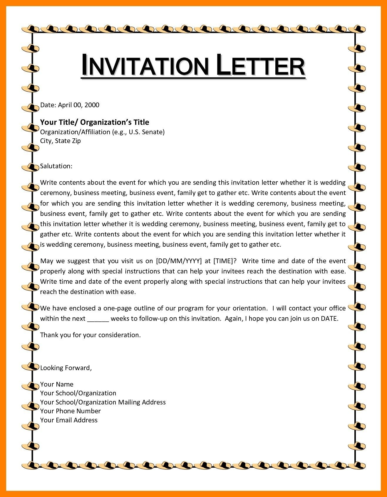 Invitation format for Cultural event Valid Letter format