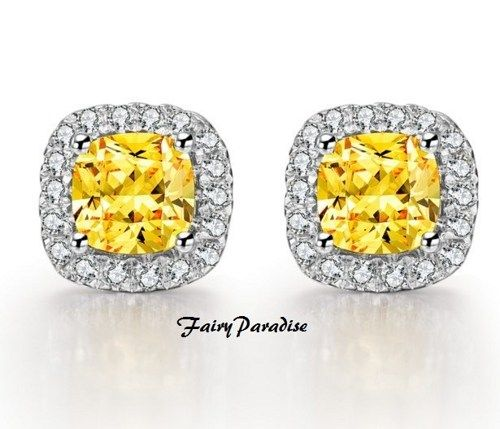 Total 2 Ct Cushion Cut Lab Made Yellow Canary Diamond Earrings