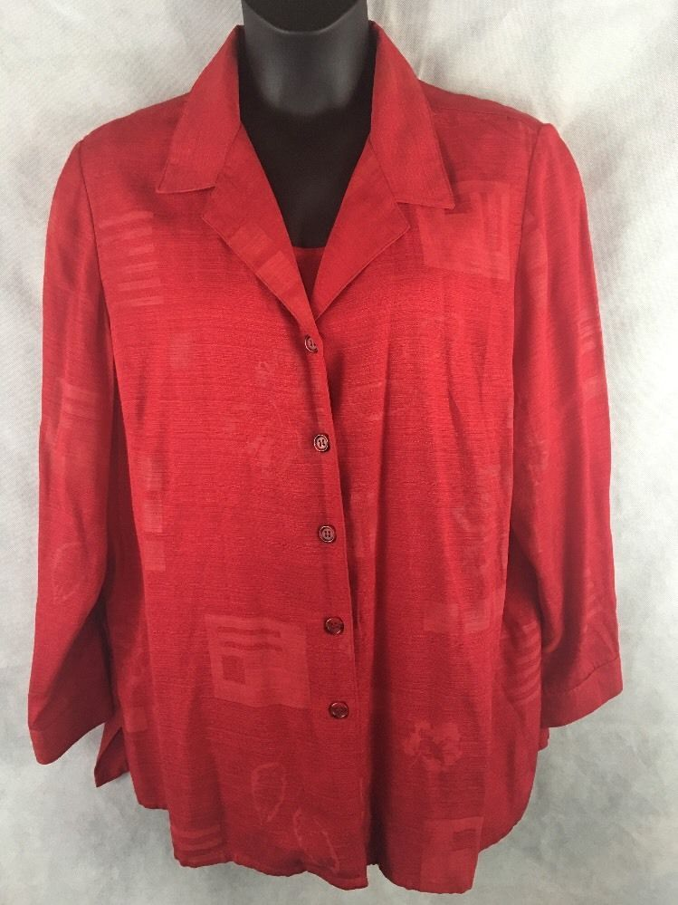 Sag Harbor Woman Red Long Sleeve Button Blouse W/ Attached Tank Size 22W #SAGHARBOR #Jacketwattachedblouse #Career