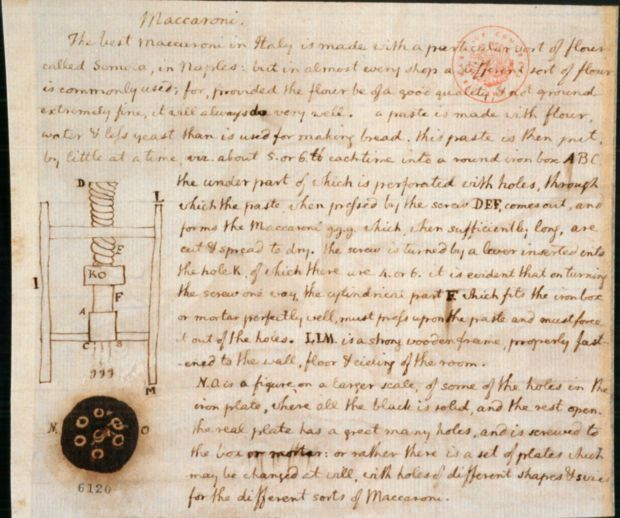 """Jefferson's undated drawing and notes on macaroni (pasta) and a macaroni machine. Excerpt: """"The best maccaroni in Italy is made with a particular sort of flour called Semola, in Naples : but in almost every shop a different sort of flour is commonly used; for, provided the flour be of a good quality, & not ground extremely fine, it will always do very well. a paste is made with flour, water & less yeast than is used for making bread. this paste is then put..."""""""