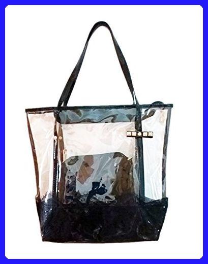 84e9ca58f88 2 In 1 Clear Tote Bag Women Clear Purse Work Bag Waterproof Travel Bag  Beach Handbag Shoulder Bag