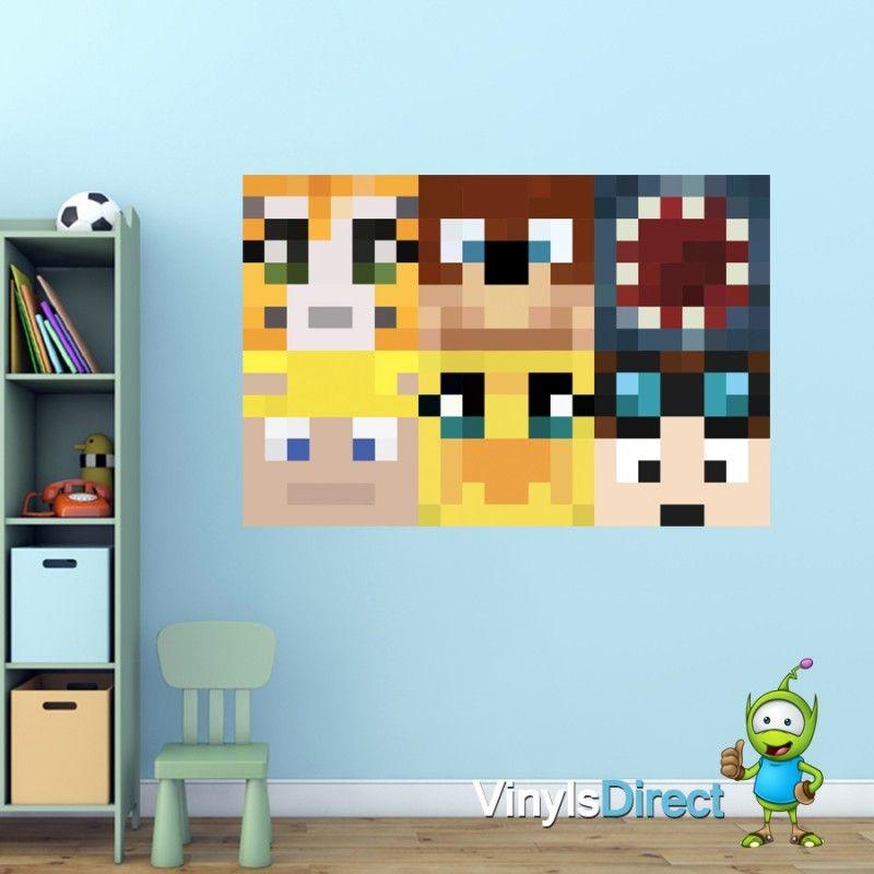 Stampy Dantdm And Friends Heads Wall Sticker Minecraft Bedroom