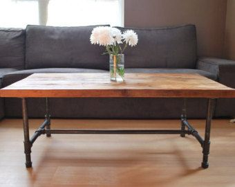 Items Similar To Wood Coffee Table With Steel Pipe Legs Made Of Reclaimed Wood 18