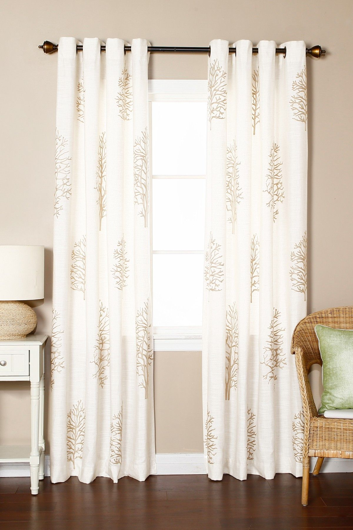 Tree Embroidered Faux Linen Grommet Top Curtains - Set of 2 Panels - White by Best Home Fashion Inc. on @HauteLook