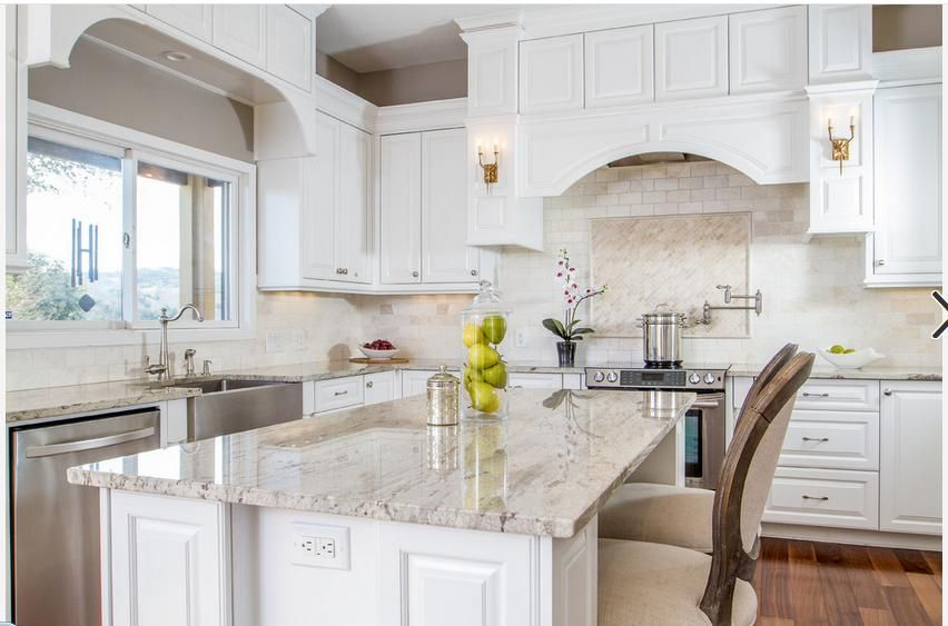 Best River White Granite Sw Snowbound Cabinets Kitchen 400 x 300