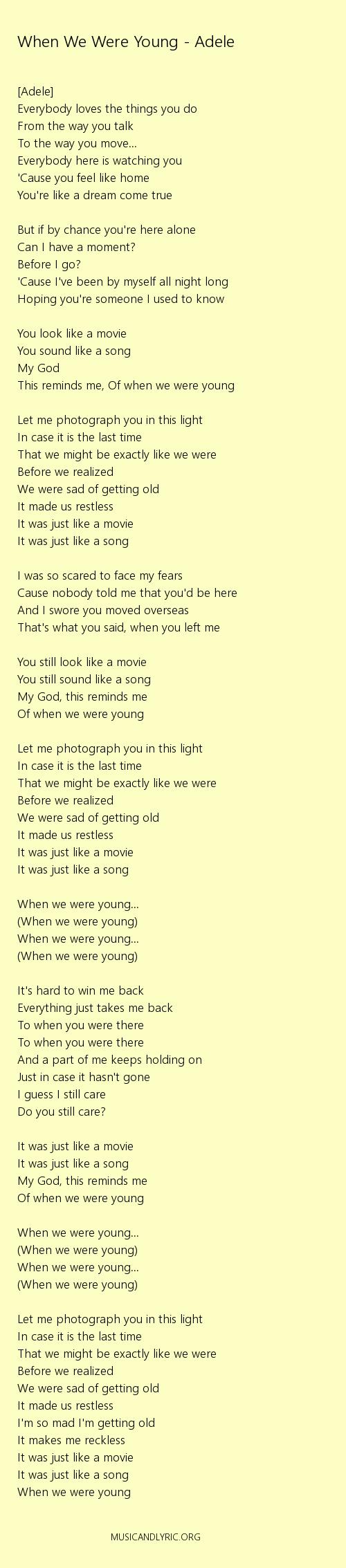 Adele - When We Were Young lyrics. pdf - Musicandlyrics | Adele songs lyrics. Adele lyrics. Adele songs