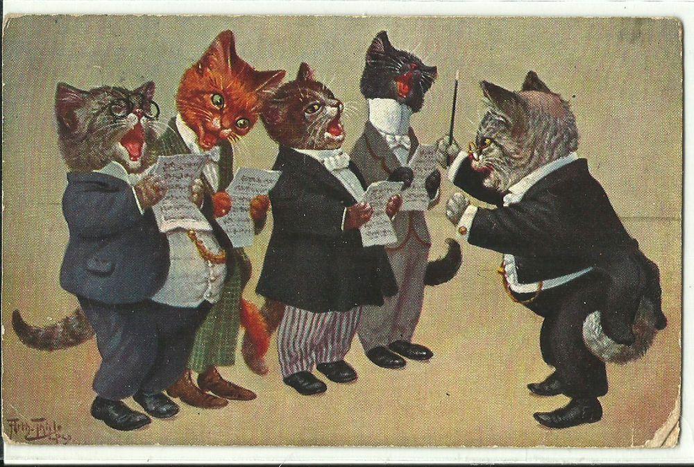 Orquestra Gatos Músicos Arte Arthur Thiele assinado Cartão Postal Antigo De Gato in Colecionáveis, Cartões postais, Animais   eBay