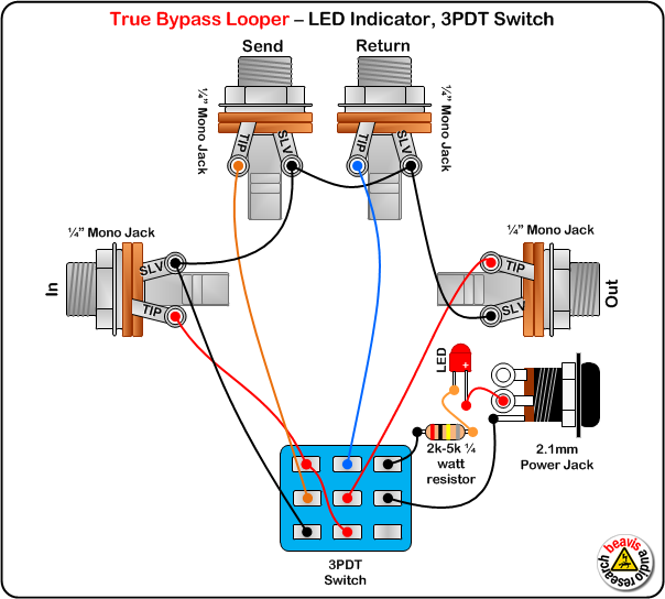 true bypass looper wiring diagram, led indicator, 3pdt switchtrue bypass looper wiring diagram, led indicator, 3pdt switch