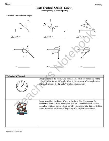 47 Angle Measurement 4th Grade Common Core Math Works