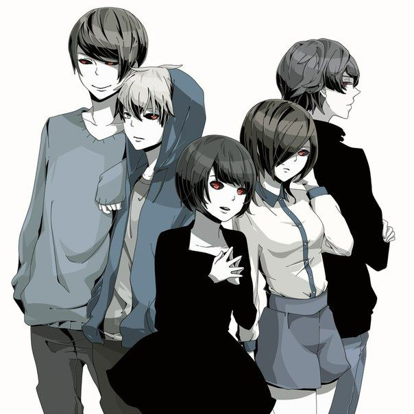 Tsukiyama, Kaneki, Hinami, Touka & Nishiki    Tokyo Ghoul