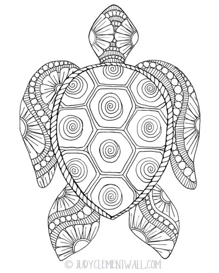 Gorgeous Sea Turtle Coloring Page in 2020 | Turtle ...