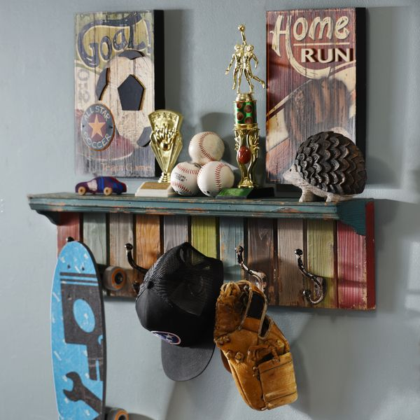 How to Decorate Using a Wall Shelf with Hooks | Shelves, Walls and ...