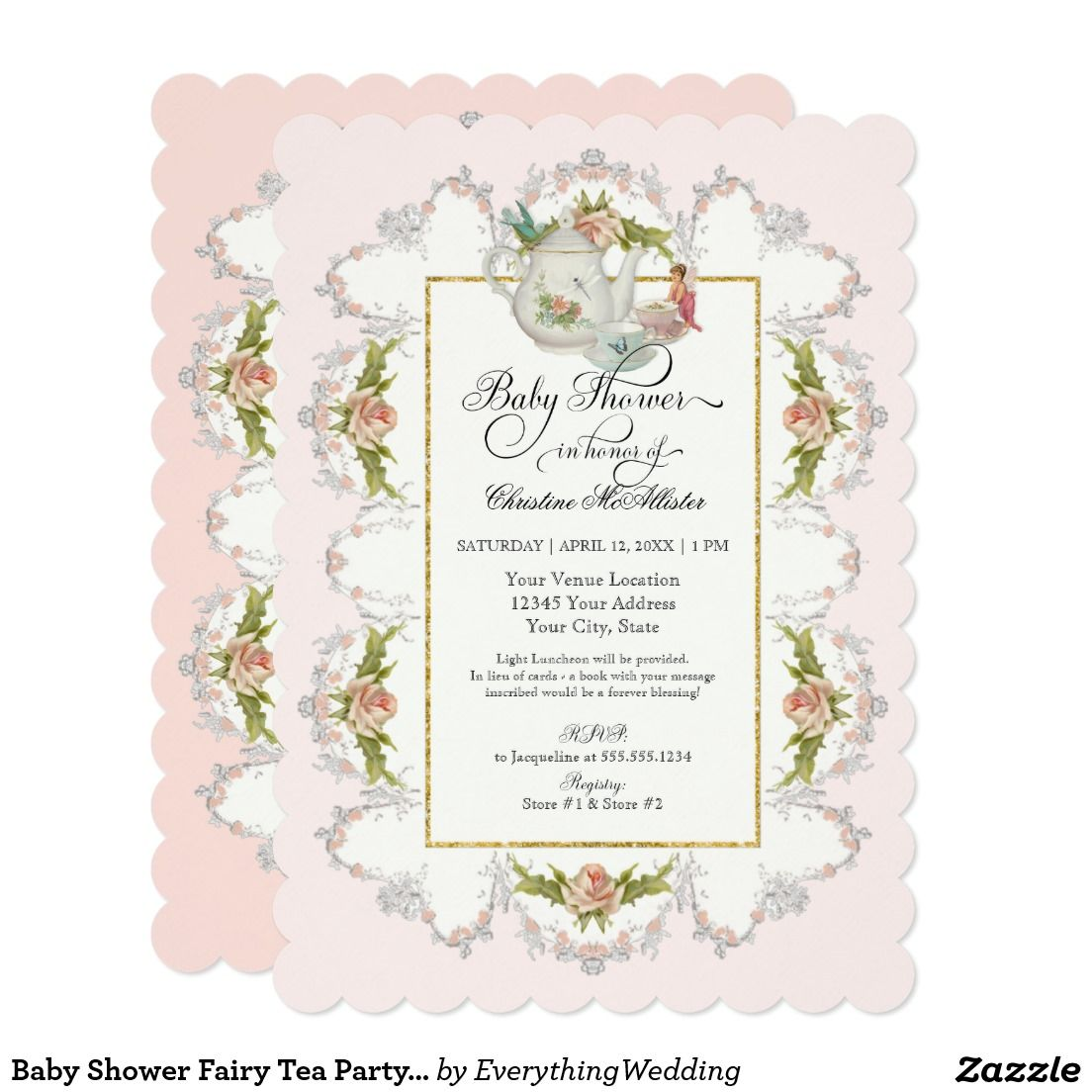 create your own invitation  zazzle  fairy tea