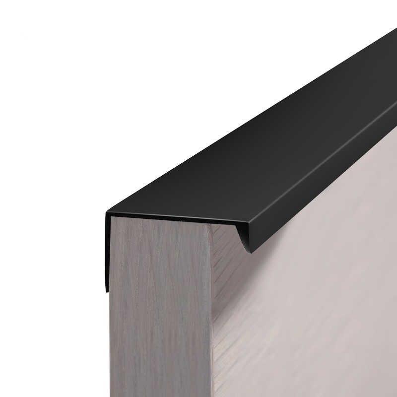 Wv Silver Hidden Cabinet Handles Black Modern Right Angle Minimalist Drawer Wardrobe Kitchen Cabinet Door Invisible Pulls 9001 Wardrobe Handles Minimalist Drawers Kitchen Cabinet Doors