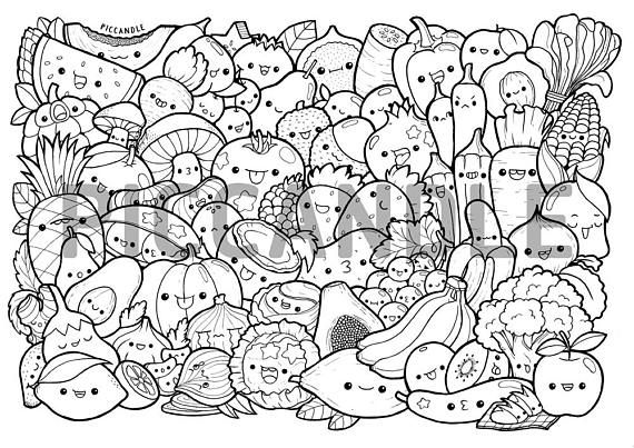kawaii fruit coloring pages | Fruits & Vegetables Doodle Coloring Page Printable | Cute ...