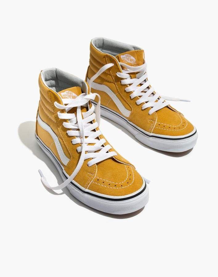 95cd4d6514 Madewell Vans Unisex SK8-Hi High-Top Sneakers in Ochre Suede ...