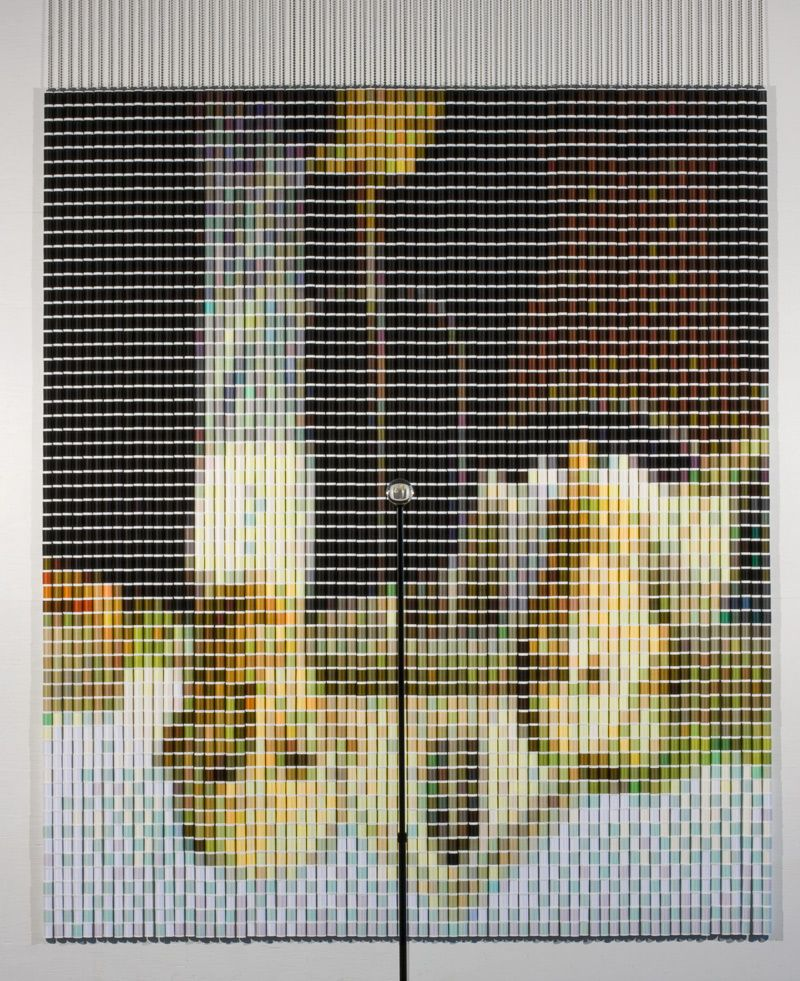 After Grant Wood (American Gothic) 3, 2010 by Devorah Sperber - very cool - made with 4,392 spools of thread, stainless steel ball chain and hanging apparatus, clear acrylic sphere, metal stand.