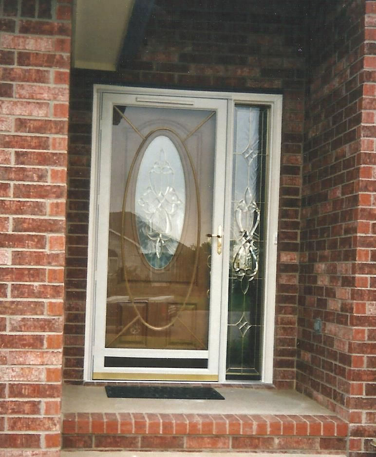 Front Entry Door With Oval Decorative Glass Lite And Decorative Sidelite Replacement Fully Finished Stained Inside Entry Doors Glass Decor Front Entry Doors