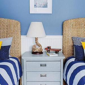 White and Blue Striped Bedding, Cottage, boy's room, Lauren Nelson Design