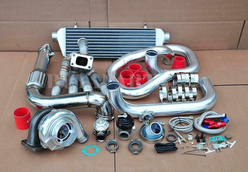 eBay #Sponsored 500HP GT30 Bolt on Turbo Kit Chrome Piping Red Co