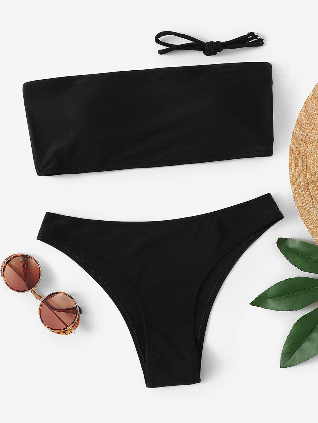 Photo of Plain Cut-out Bandeau Bikini Set