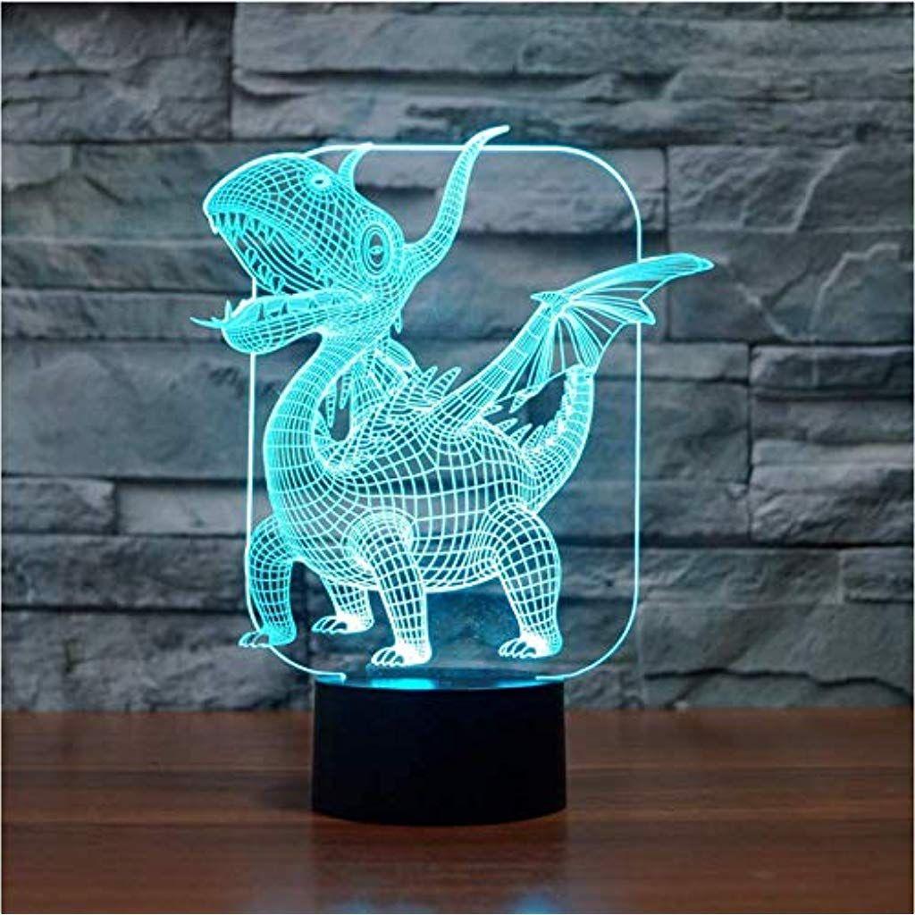 Illusion Nachtlicht 3d Flugsaurier Dinosaurier Illusion Led Lampe 7 Farbe Led Birne Dekoration Tier Touch Schlafen Tischlampe In 2020 Led Lampe Nachtlicht Tischlampen
